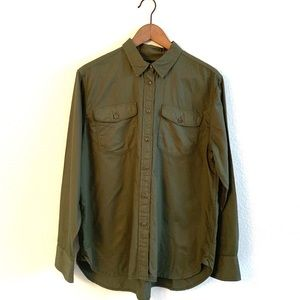 J Crew Military Green Long Sleeve Utility Shirt
